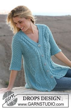 "DROPS A-shaped jacket with cables and berry pattern in ""Silke Alpaca"". Size S – XXXL. ~ DROPS Design"