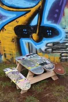 upcycling statt recycling neue  anwendung skateboard tisch