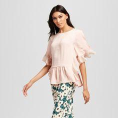 Women's Fabric Mix Ruffle Top Pink XS - Who What Wear