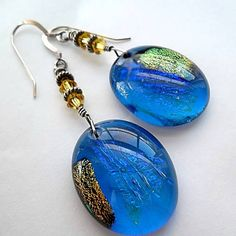 Dichroic Glass Earrings/Fused Glass/Dangle by DarlenesGlassGarden, $22.00