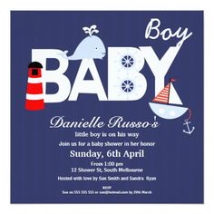 Boy's Nautical Baby Shower Invitation 13 Cm X 13 Cm Square Invitation Card
