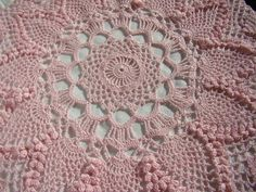 Pink crocheted table topper with pineapple and by BearMtnCrochet, $75.00
