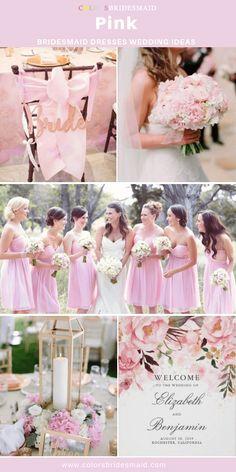 Pink Bridesmaid Dresses Short, Bridesmaid Dress Colors, White Wedding Dresses, Bridesmaid Bouquets, Bridesmaids, Purple Wedding Flowers, Red Wedding, Wedding Colors, Wedding Ideas