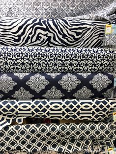 Shopping for Fabrics - Southern Hospitality Blue And White Fabric, Black White Gold, Curtain Designs, Curtain Ideas, Striped Chair, Fabric Display, King Sheet Sets, Vintage Pillows, Fabulous Fabrics