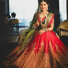 "Top 50 Most Stunning Beautiful Bridal Lehangas - ""Dream Wedding Dresses of Every Girl "" Indian Bridal Outfits, Indian Bridal Lehenga, Indian Bridal Wear, Indian Dresses, Indian Wear, Red Lehenga, Shaadi Lehenga, Banarasi Lehenga, Sharara"