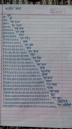 Indian Calculation Numbers --Man's one of the greatest creation. Large population -large continent area and equelent necessties might be the need of this big numbers. Gk Knowledge, General Knowledge Facts, Knowledge Quotes, Gernal Knowledge In Hindi, Mantra, Learn Hindi, English Language Learning, Sms Language, German Language