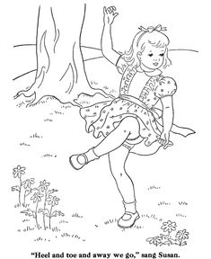 BlueBonkers: Girl Coloring Pages - Dancing in the Spring - Free Printable Kids Coloring Sheets for Girls Dance Coloring Pages, Free Kids Coloring Pages, School Coloring Pages, Coloring Sheets For Kids, Coloring Book Pages, Adult Coloring, Hand Embroidery Patterns, Digi Stamps, Enjoying Life