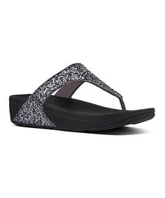 0852b29f0 Loving this Pewter Glitterball Nubuck Toe-Post Sandal - Women on  zulily!