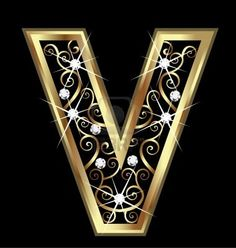 Illustration of V gold letter with swirly ornaments vector art, clipart and stock vectors.