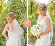 Lace + illusion neckline + peony bouquet