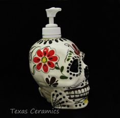 Day of the Dead Skull Pump Dispenser for Lotion by TexasCeramics, $35.00