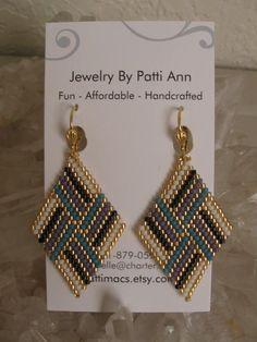 Bead Woven Diamond Shape Earrings Copyright Patti by pattimacs