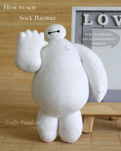 Sock Baymax Doll Free Sewing Pattern is part of Disney crafts Sewing - Full pattern and tutorial to show you how to sew sock Baymax, the cute robot in Big Hero 6 who is clumsy squishy in white vinyl balloon with eyes Sock Crafts, Diy And Crafts Sewing, Fun Crafts, Fabric Crafts, Sewing Projects, Craft Projects, Arts And Crafts, Creative Crafts, Baymax