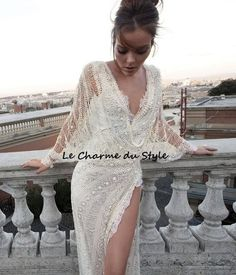 Not that i need a wedding dress but if i did! Minus the high slit :/ Haute Couture Wedding Dress Just For You Divas Lace Wedding Dress, Sexy Wedding Dresses, Gorgeous Wedding Dress, Beautiful Dresses, Wedding Gowns, Wedding Blog, Beautiful Beach, Wedding Ideas, Wedding Venues