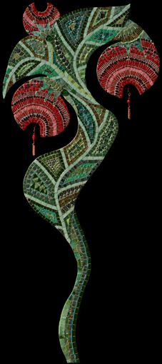 "Irina Charny - Red Flower. Glass, beads, millefiori, gold, porcelain, dichroic glass. 21"" x 49"""