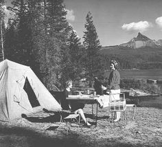 Women camping at Diamond Lake in Jackson County, Oregon, 1956 :: Oregon Archives Collection