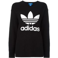 Adidas Originals logo knit sweater (420 BRL) ❤ liked on Polyvore featuring tops, sweaters, black, long sleeve sweater, drop shoulder tops, drop shoulder sweater, logo top and long sleeve knit tops
