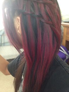 Messy waterfall braids and Manic Panic Infra Red hair.