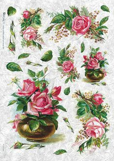 Papier ryżowy Kalit do decoupage vitfalo0004 Różowe róże i wazon Papier ryżowy Kalit - sklep DecoupageArt.pl