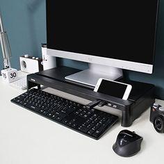 Cyanics i-Bridge MC-300 Monitor Laptop Stand [Plastic] Slim Universal Monitor Laptop Multimedia Stand with Desk Organizer [Storage Space] (Black (With USB HUB)) by Cyanics