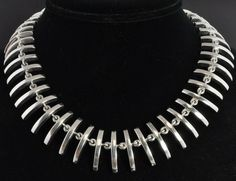 Taxco Mexico Vintage Sterling Silver Curved Collar Necklace