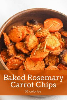 Crispy and sweet Baked Rosemary Carrot Chips make a delicious and healthy low calorie side dish that can easily be made in place of potato chips, french fries, and other high calorie sides. They are also gluten free, Paleo, Whole30, and clean eating friendly so they can work for almost any diet!
