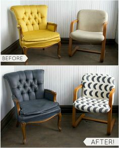 Get the fresh, reupholstered look of these two fabric covered chairs using Chalkworthy™ Antiquing Paint. Keep your old, outdated upholstered furniture and rescue it from the discard pile with paint, little water and some imagination.