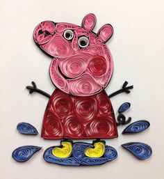 Peppa Pig Quilled Art paper art framed 5x7 by jgaCreations on Etsy