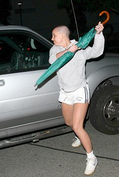 Meltdown ... Britney Spears attacks car with brolly in 2007