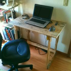 A simple computer desk made from recycled pallets. Nothing fancy, but a solid, functioning computer desk. I may add a coat of stain or paint to it, but there it is!