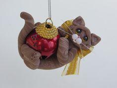 Polymer Clay Brown Tabby Cat Christmas Ornament di HeartOfClayGirl, $16,95