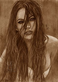Freehand sketch of Megan Fox using HB pencil and eraser. Darkene and tinted digitally.