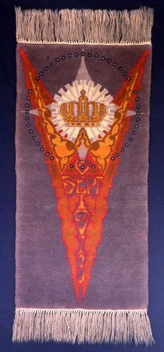 "Lovely art deco tapestry. Tapestry commemorating the 25th Anniversary of the Reign of Queen Wilhelmina of the Netherlands on September 6, 1923; image depicts a pattern of geometric shapes representing a crown atop a triangle bearing the initial ""W"" and the date September 6, 1923."