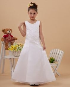Organza satin sans manches cou étage longueur des robes ronde mignonne de fille