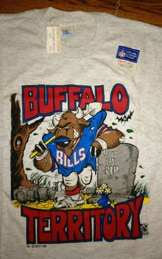 BUFFALO BILLS TERRITORY NEW 1990 RIP AFC  NFL Licensed Tee Shirt LG…