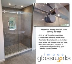 Frameless Sliding Shower Doors, Brushed Stainless Steel, Glass, Top, Design, Decor, Decoration, Drinkware, Corning Glass