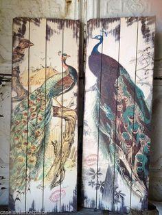 Accent On Paris Set of 2 Aged Peacock Planks Plaques Antique Reproduction