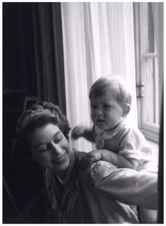 Queen Elizabeth and Prince Charles as a child.  Beautiful photograph.