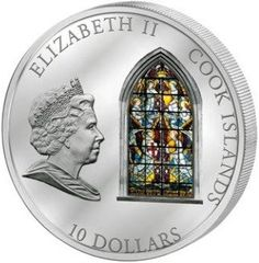 Moeda: 10 Dollars (Westminster Abbey in London) (Ilhas Cook) (Windows of Heaven) WCC:km1259