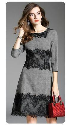 Super Vintage Lace Stitching O-Neck Skater Kleid – Naomi Brele – … - Kleider Sewing Dresses For Women, Stylish Dresses, Simple Dresses, Nice Dresses, Clothes For Women, Work Dresses, Dress Sewing, Dresses Dresses, Couture Dresses