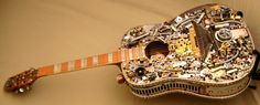 Steampunk Acoustic Guitar - Thayer DeMay - http://www.thayerdemay.com/musical-instruments/custom-made-steampunk-acoustic-guitar.php
