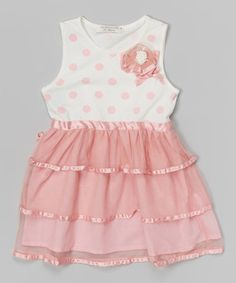 Look what I found on #zulily! Pink & White Polka Dot Tiered Dress - Infant, Toddler & Girls #zulilyfinds
