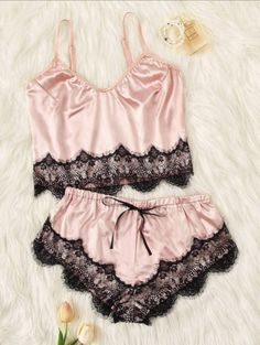 Scalloped Trim Contrast Lace Satin Cami PJ Set Check out this Scalloped Trim Contrast Lace Satin Cami PJ Set on Shein and explore more to meet your fashion needs! Sexy Shorts, Pretty Lingerie, Sexy Lingerie, Lingerie Underwear, Night Outfits, Cute Outfits, Silk Knickers, Cute Sleepwear, Lace Trim Shorts