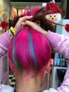 Brown hair with pink and 2 blue/teal streaks underneath --> what i was attempting to go for (-ish. with less pink. but this looks awesome)