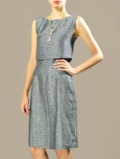Grey Layered Cotton-Linen Dress
