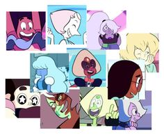 """""""The many faces of steven universe"""" by wynysc23 ❤ liked on Polyvore featuring art"""