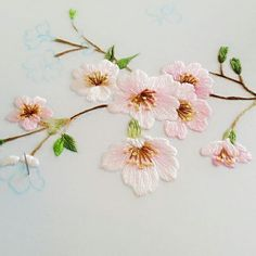 care Embroidered Embroidery ArtistCherry blossoms in spring embroidery Cushion Embroidery, Diy Embroidery Patterns, Hand Work Embroidery, Embroidery Flowers Pattern, Creative Embroidery, Japanese Embroidery, Hand Embroidery Stitches, Crewel Embroidery, Embroidery Techniques