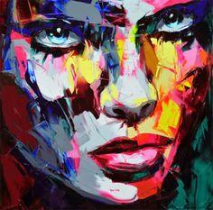 Dit moderne kunstwerk is van Francoise Nielly. Ik vind dit echte kunst. Want het is met verschillende vlakken gemaakt, en er is een goed portret van een gezicht van gemaakt. De ogen zelf poppen er heel erg uit. Ik vind het erg mooi gemaakt.
