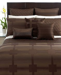 "Hotel Collection - ""Meridian Sepia""  Bedding Collection in Chocolate"
