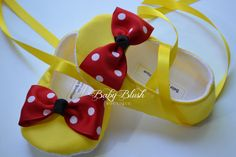 Yellow Minnie Inspired Baby Shoes with Red Polka Dot Bow Soft Ballerina Slippers Baby Booties
